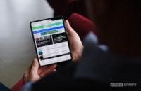 Samsung Galaxy Fold tablet mode reading AA