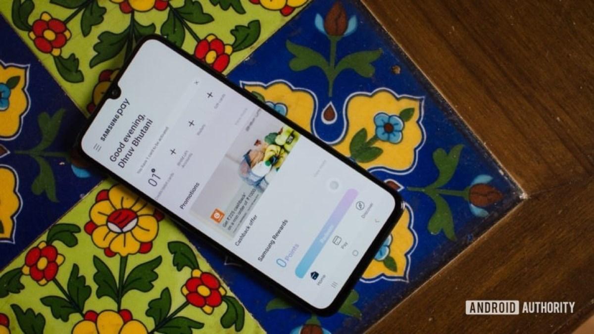 Домашняя страница Samsung Pay Galaxy A70.