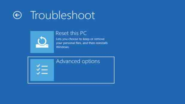 Widows 10 Troubleshoot Advanced options