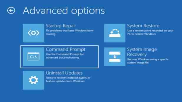 Windows 10 Adv options command prompt