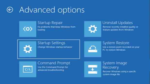 Windows 10 Advanced Options Startup settings
