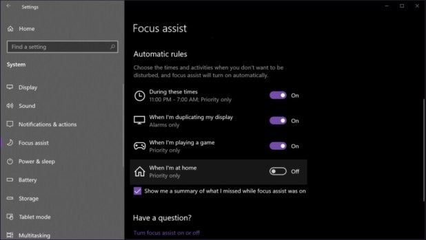 Windows 10 Focus assist automatic rules - How to use notifications in Windows 10