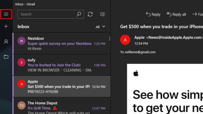 Windows 10 Mail Expand Menu