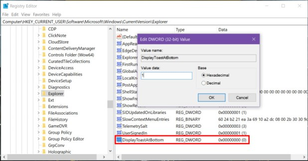 Windows 10 Notification Location Registry Edit part 7 - How to use notifications in Windows 10