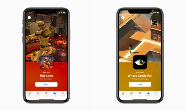 Two iPhone renders showing different Apple Arcade images on the screen.