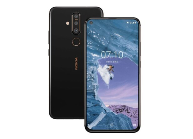 Two Nokia X71 renders showing the device front and back.