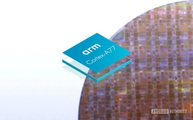 Arm Cortex-A77 logo on silicon wafer backdrop