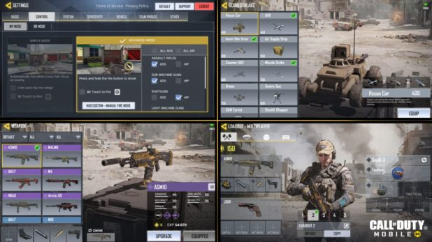 Different menu screens in Call of Duty: Mobile.