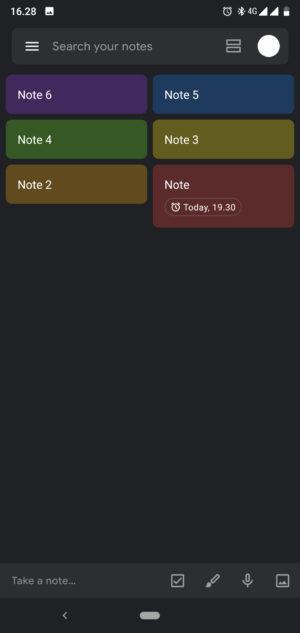 Screenshot of Google Keep's dark mode 3.