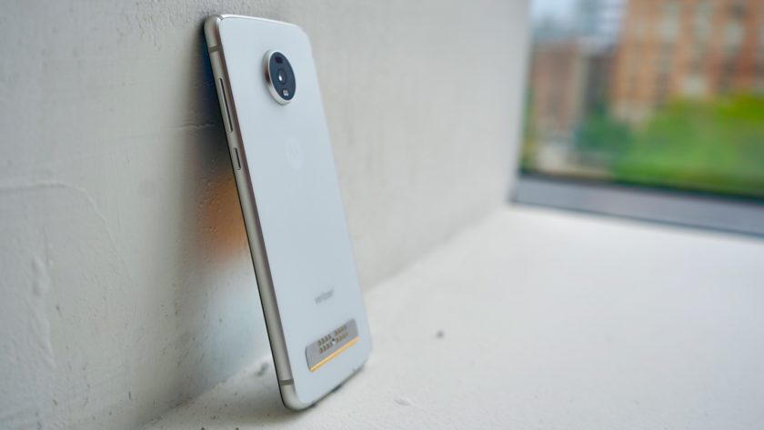 Motorola Moto Z4 left angle rear