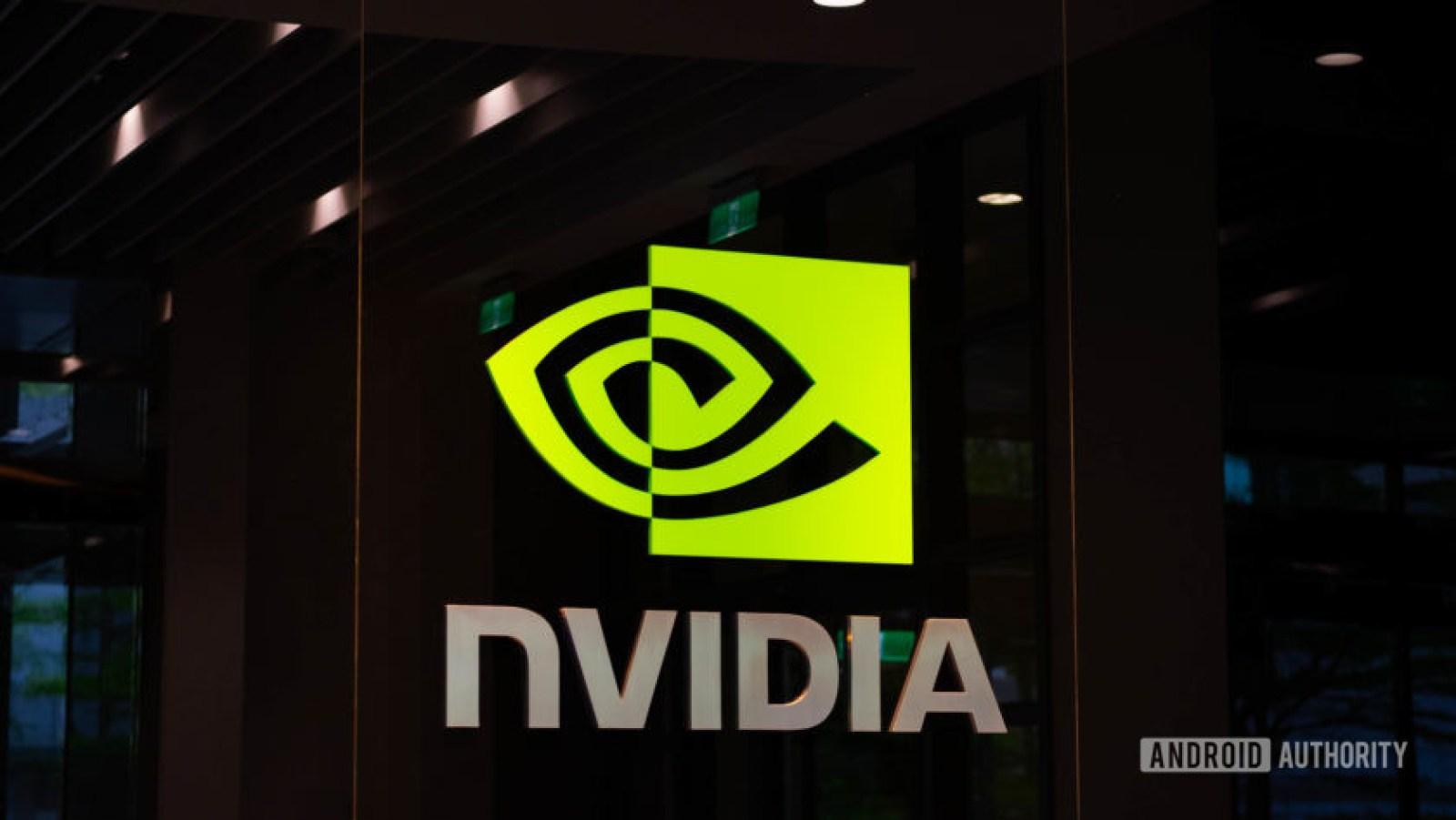 Logotipo da NVIDIA interno em ângulo