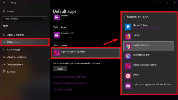 Windows 10 Settings Choose a browser