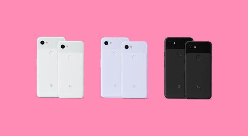 Google Pixel 3a and 3a XL renders showing six devices from behind.