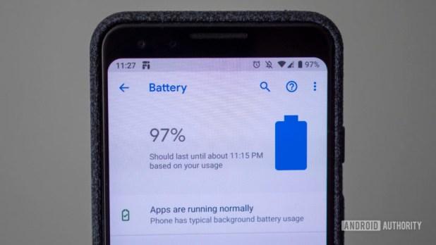 google pixel 3 battery screen