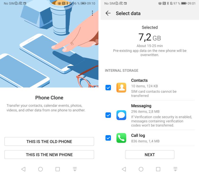 The Huawei Phone Clone app in a pair of screenshots.
