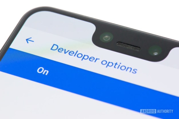 Developer options menu on a Pixel 3 XL Android phone