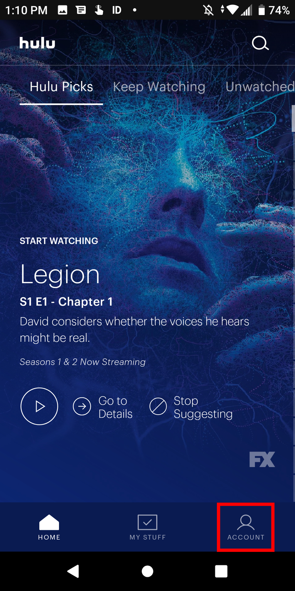 Аккаунт Hulu Android Tap