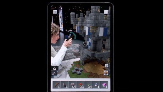 Demo of Minecraft Earth during Apple's WWDC 1.