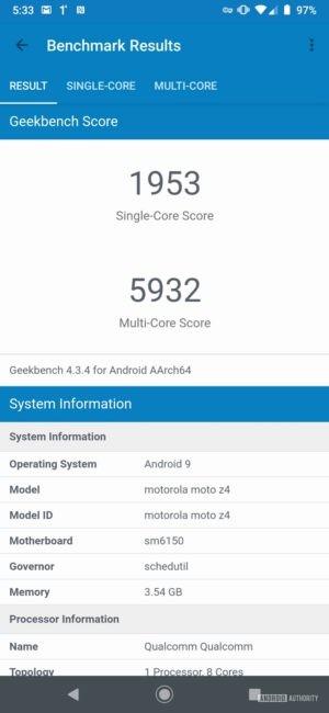 Motorola Moto Z4 Geekbench Totals