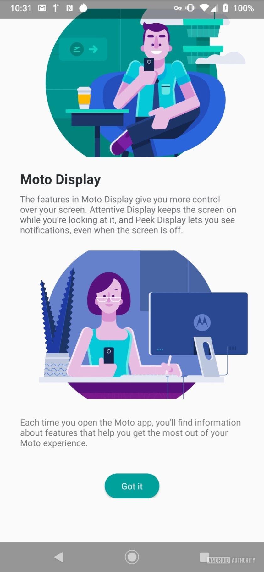 Motorola Moto Z4 Moto App options