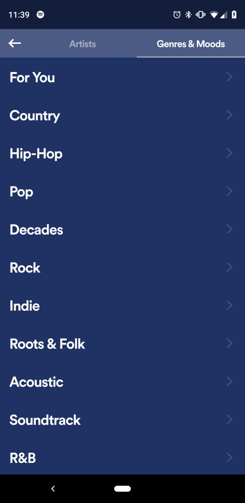 Screenshot of Spotify's Stations app 4