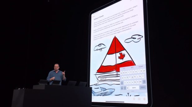 A screenshot from the Apple WWDC 2019 event.