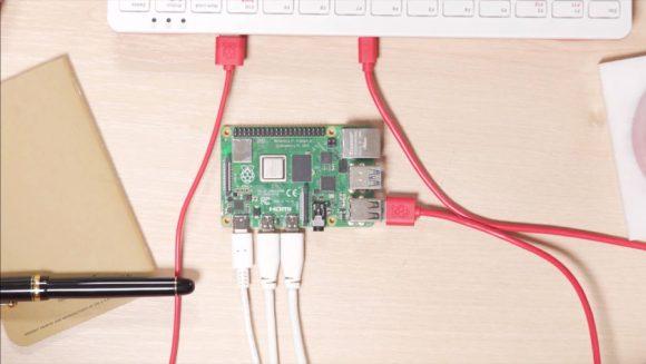 A Raspberry Pi 4 functioning as a desktop computer.