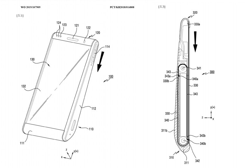 Samsung Galaxy rolling phone patent images showing two designs.