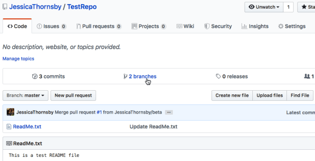 """Select the """"branches"""" tab, to see all the branches available for this GitHub project"""
