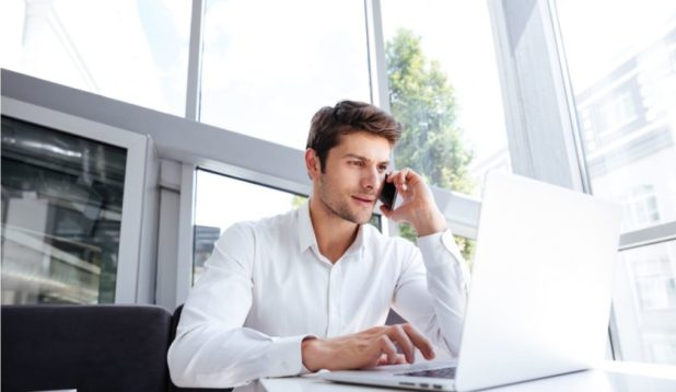Businessman Laptop Phone Coding Typing