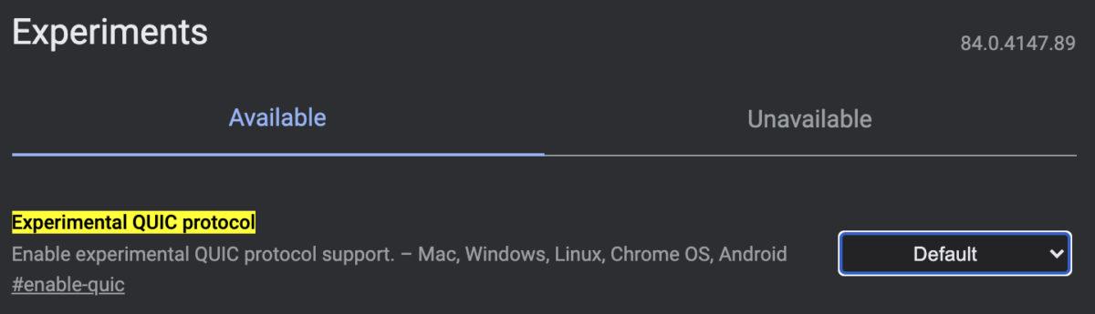 Флаги Chrome экспериментального протокола QUIC