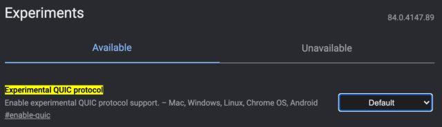 Deneysel QUIC protokolü Chrome işaretleri