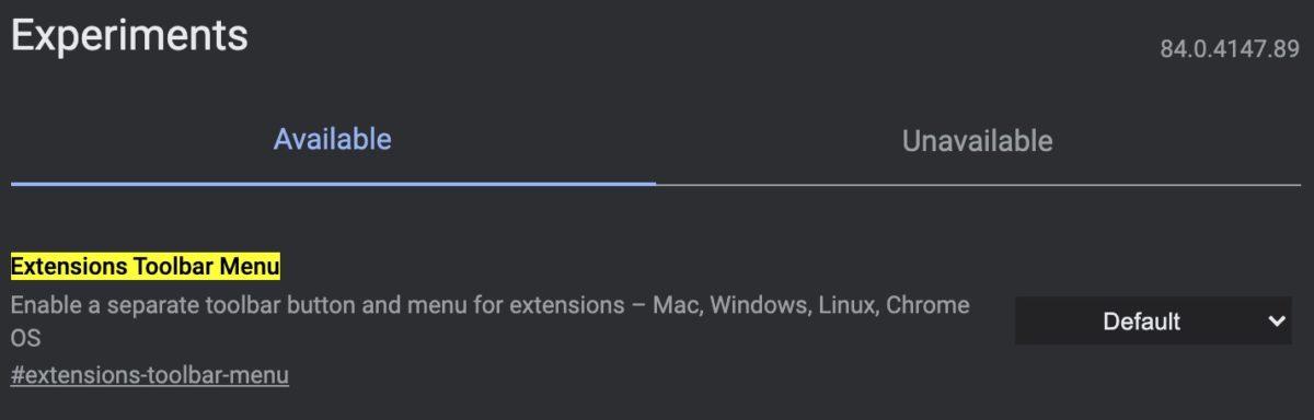 Расширения меню панели инструментов Chrome флаги