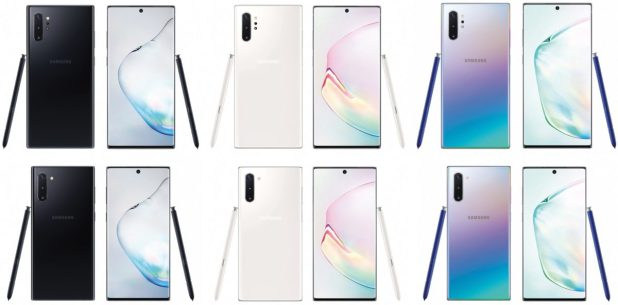 Samsung Galaxy Note 10 renders at the bottom Galaxy Note 10 Plus renders at the top in various colors.