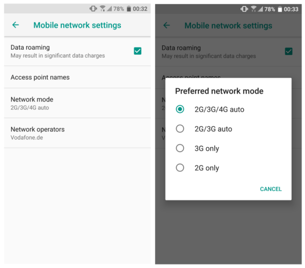 selecting network mode