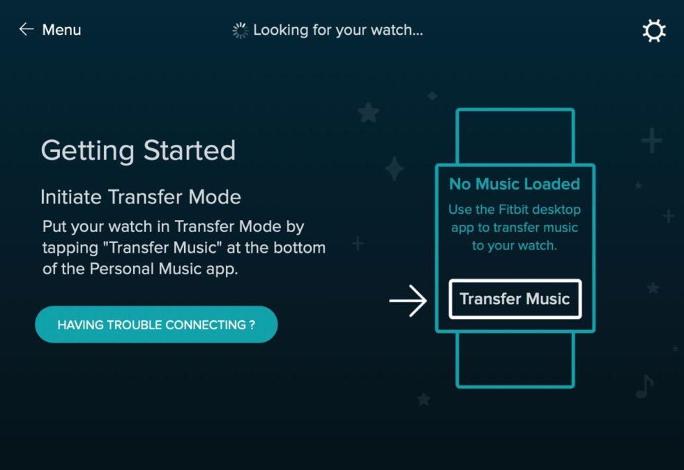 Приложение Fitbit Connect с экраном управления музыкой