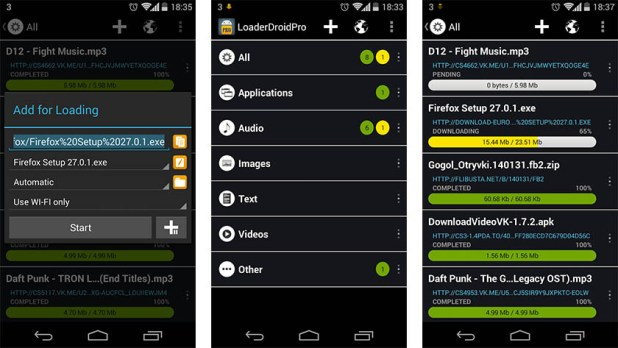 Loader Droid is one of the best download managers for android