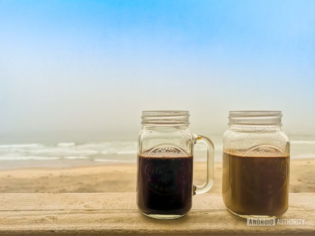 Sample image of playful white balance coffee by the beach