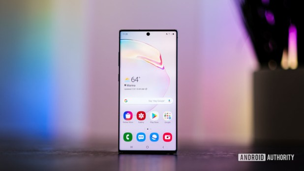 Samsung Galaxy Note 10 Plus screen head on. A Xiaomi Mi Mix 4 competitor.