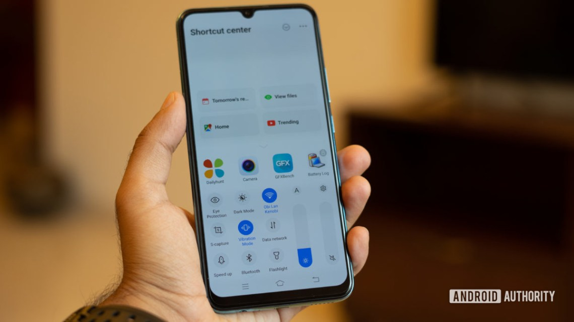 Vivo S1 in hand showing quick toggles drawer