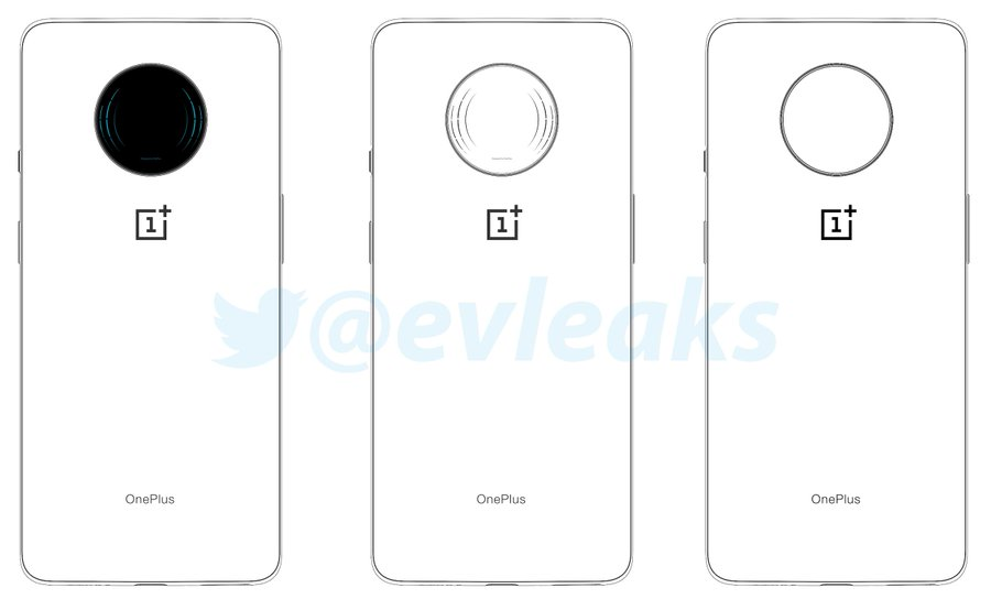 Sketches showing an apparent Oneplus 7T or 5G phone.