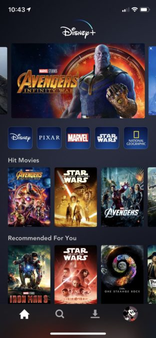 Disney Plus Android app home screen