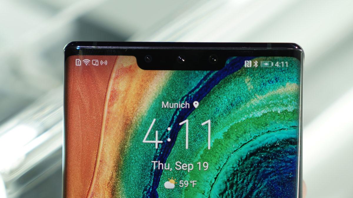 Huawei Mate 30 Pro notch status bar camera on front