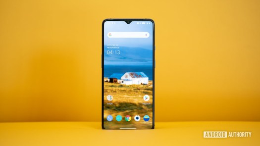 OnePlus 7T screen on yellow background