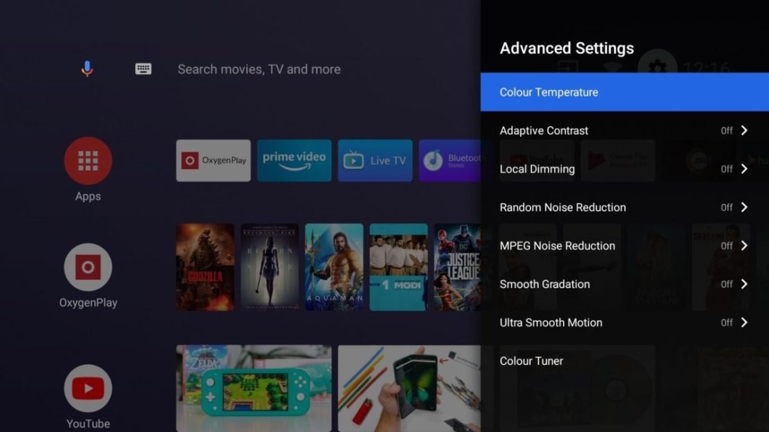 OnePlus TV advanced picture tuning options