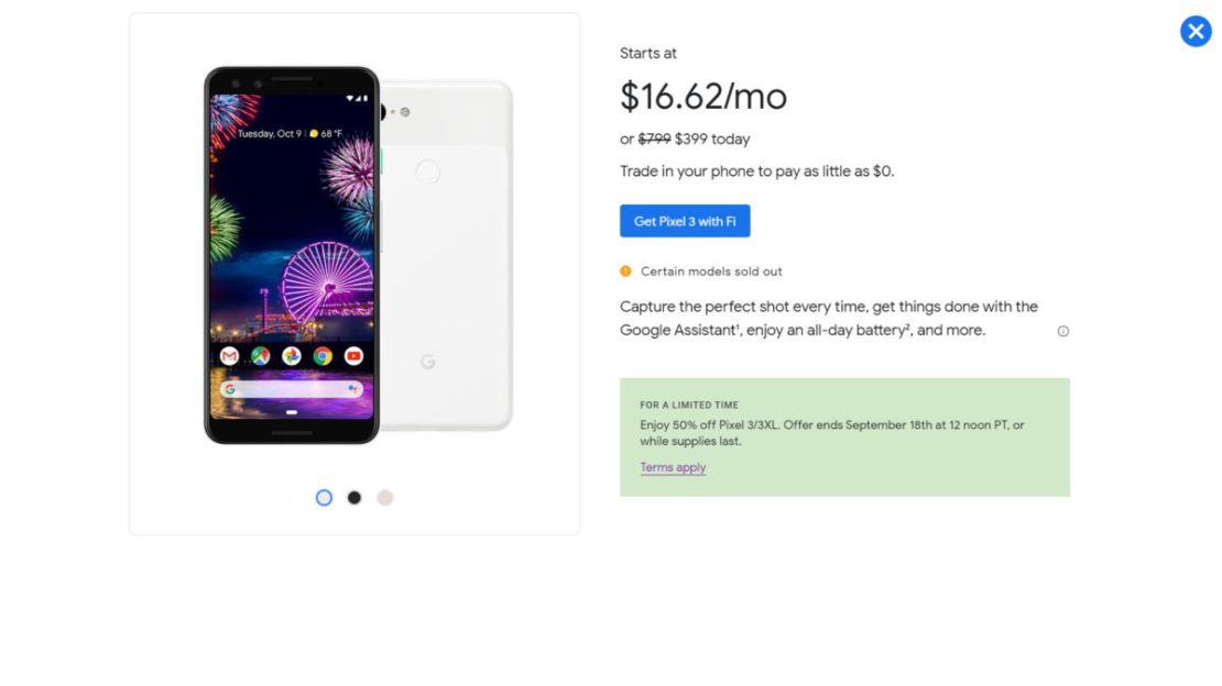 The Google Pixel 3 deal on the Fi website.