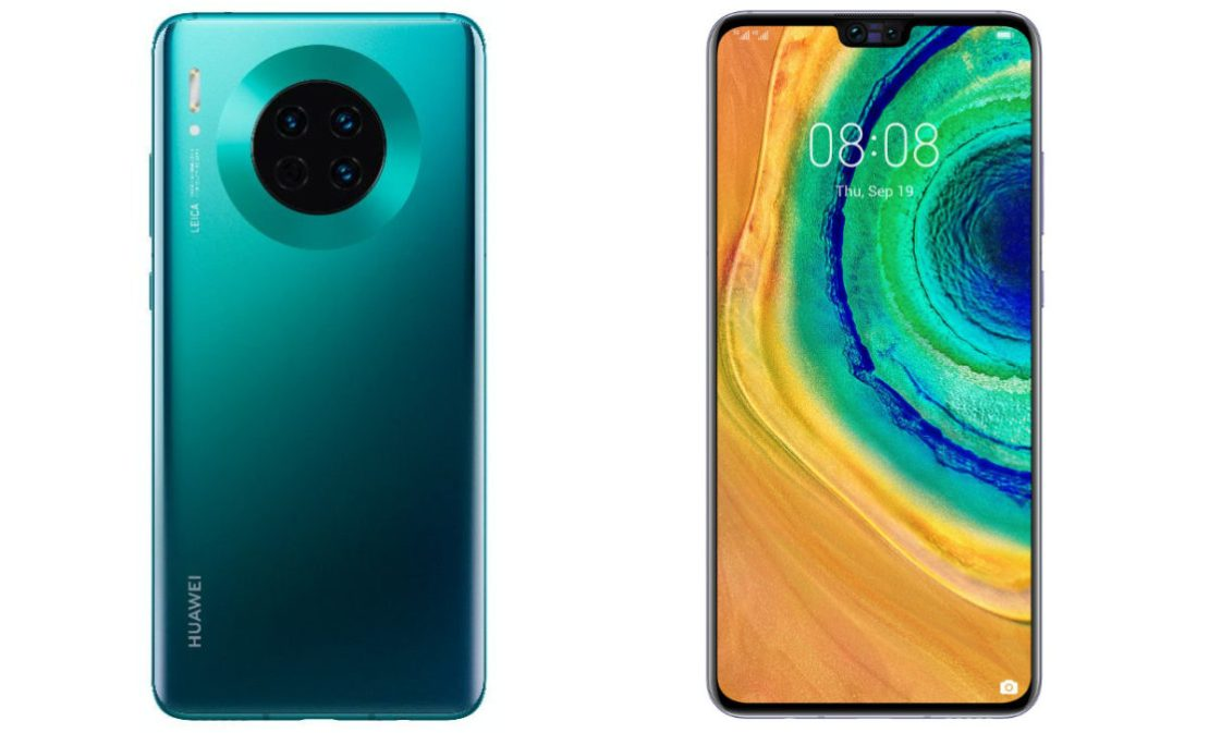 A composite of the Huawei Mate 30.