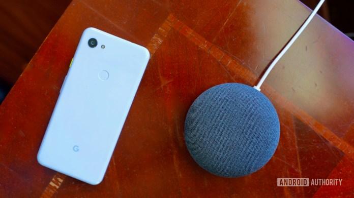 Google Nest Mini charcoal with Pixel 3a XL