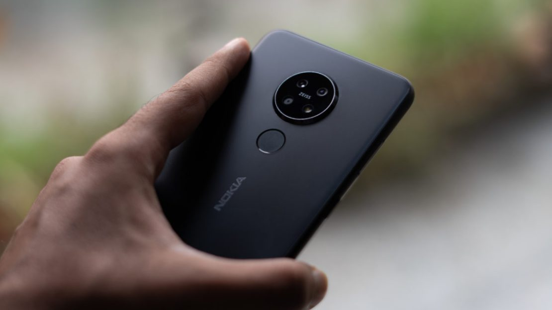 Nokia 7.2 showing camera module in hand