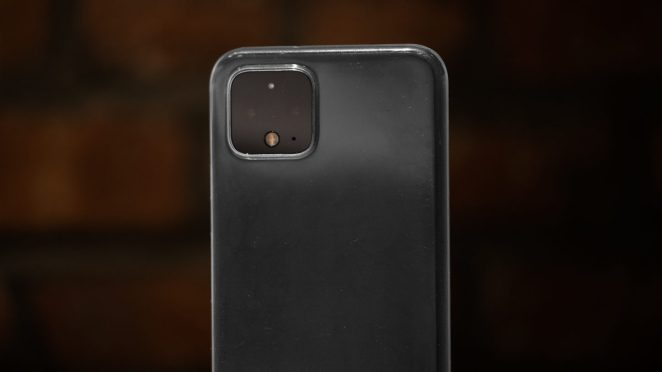 Pixel 4 in clear MNML case standing upright against brick